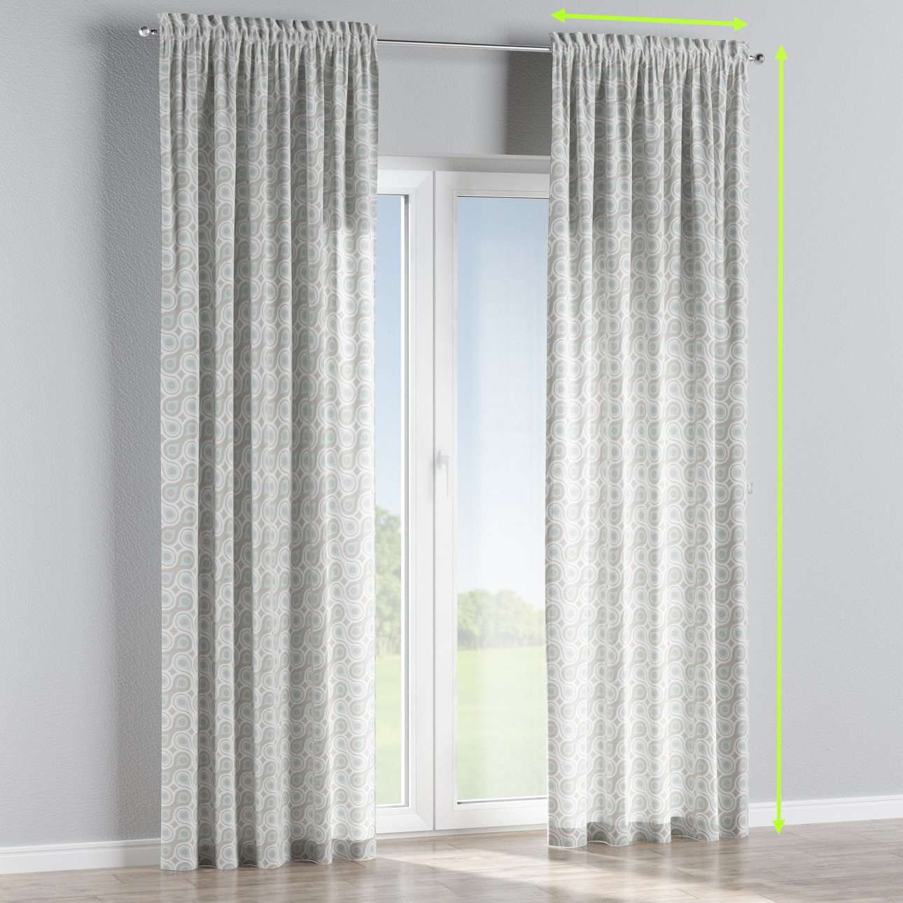 Slot and frill lined curtains in collection Flowers, fabric: 311-13