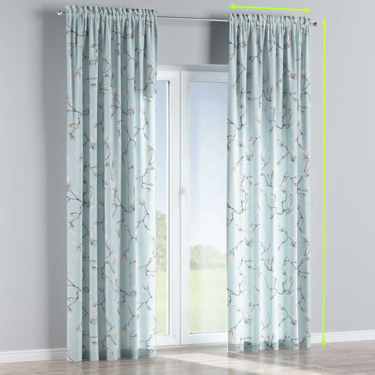 Slot and frill lined curtains in collection Flowers, fabric: 311-14