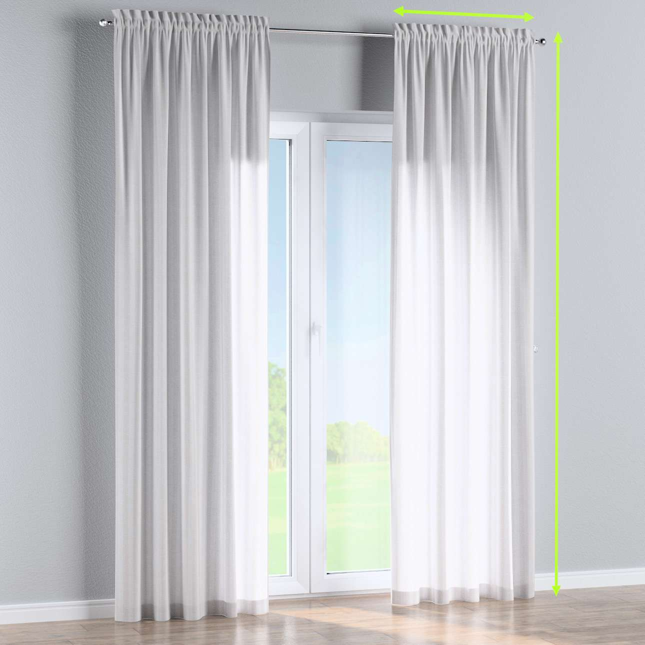 Slot and frill lined curtains in collection Linen , fabric: 392-03