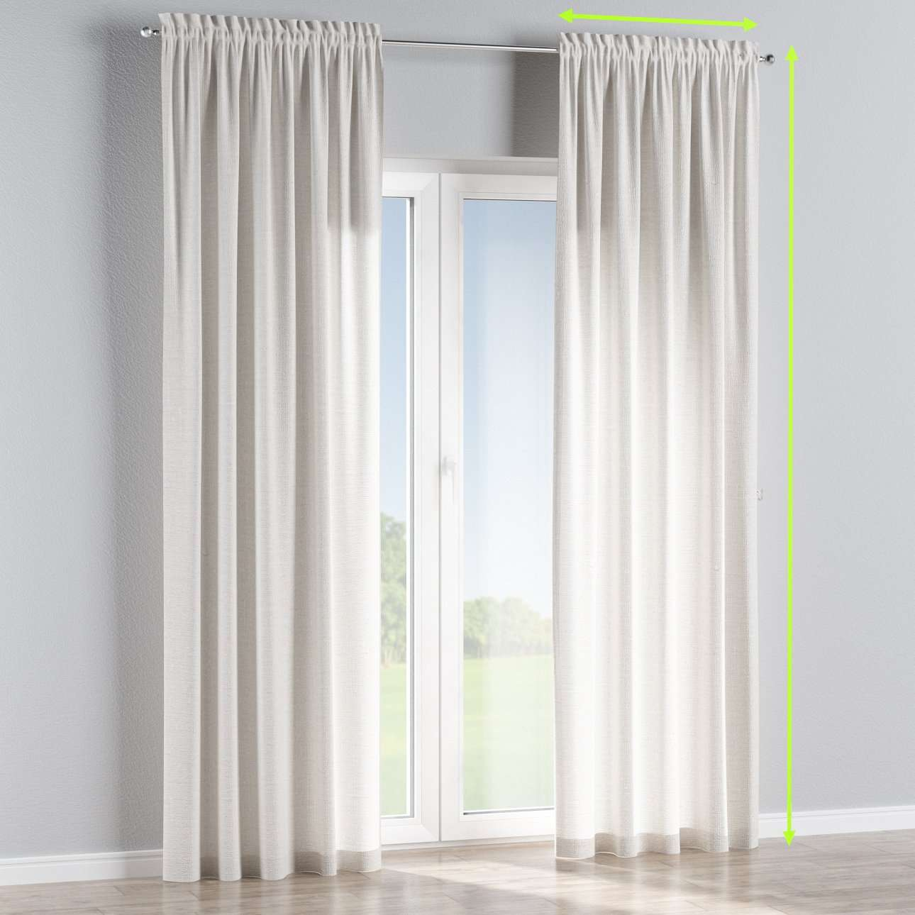 Slot and frill lined curtains in collection Linen, fabric: 392-04