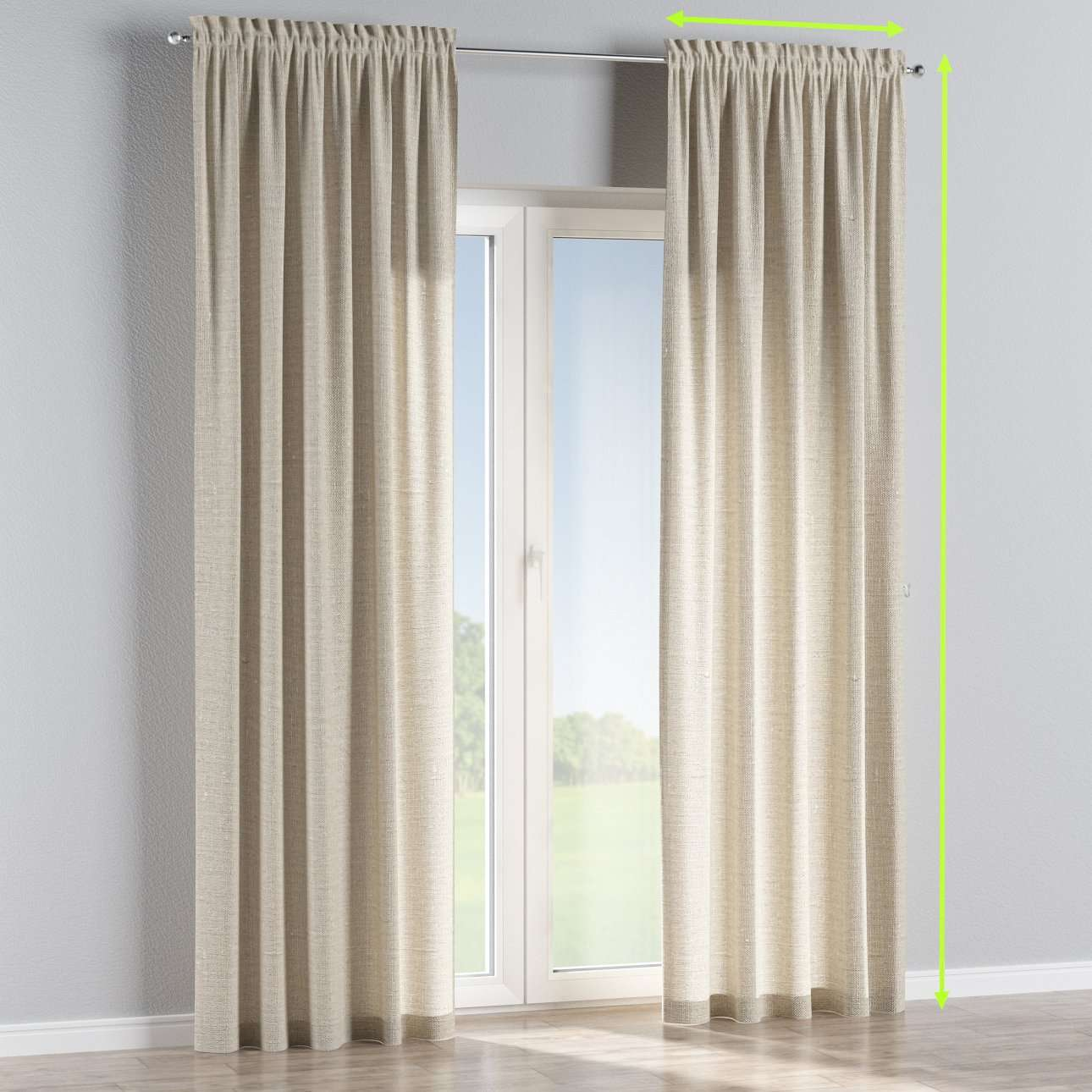 Slot and frill lined curtains in collection Linen, fabric: 392-05