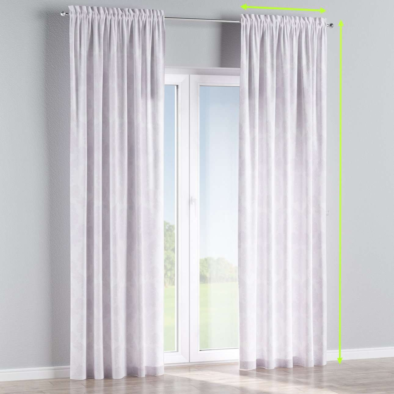 Slot and frill lined curtains in collection Damasco, fabric: 613-00