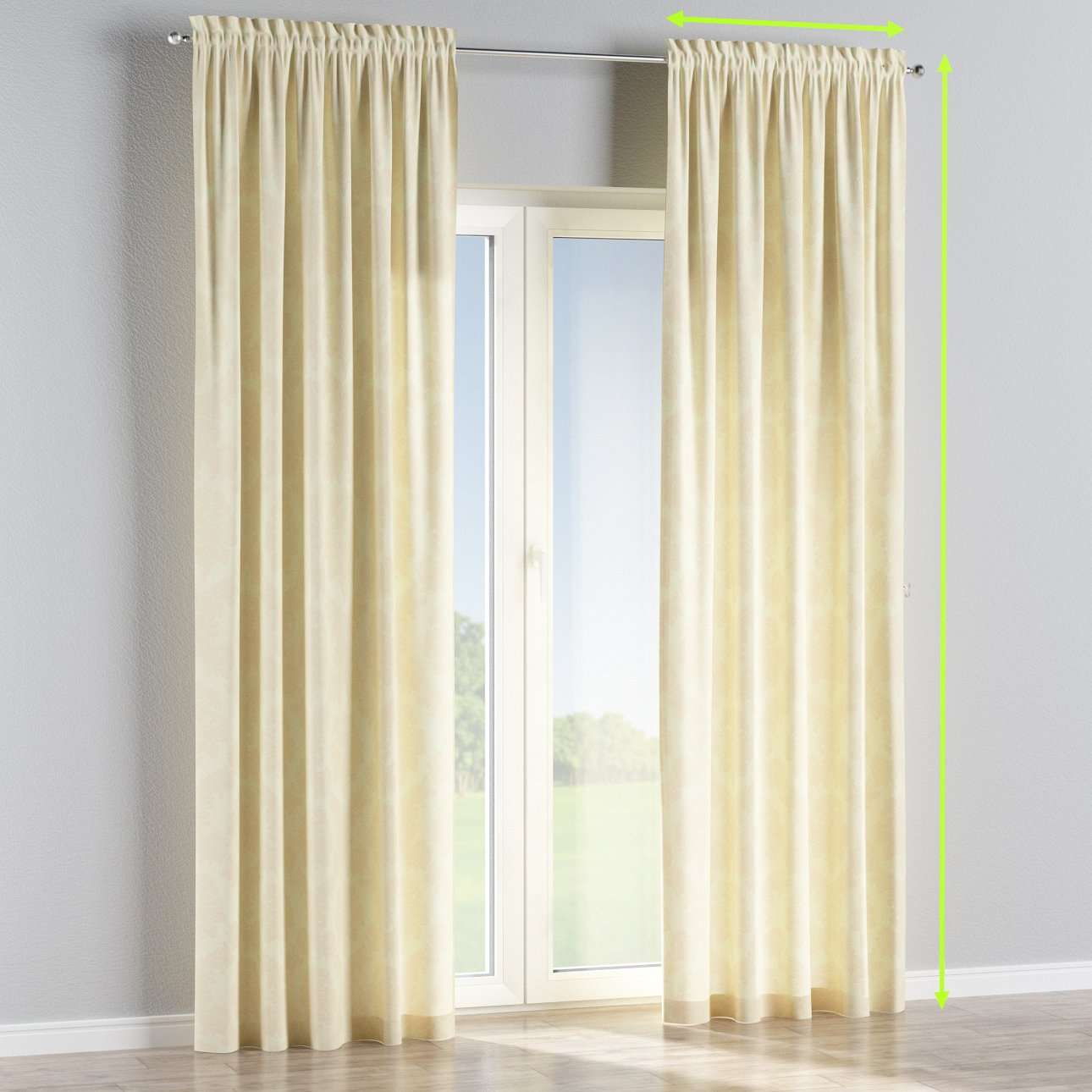 Slot and frill lined curtains in collection Damasco, fabric: 613-01