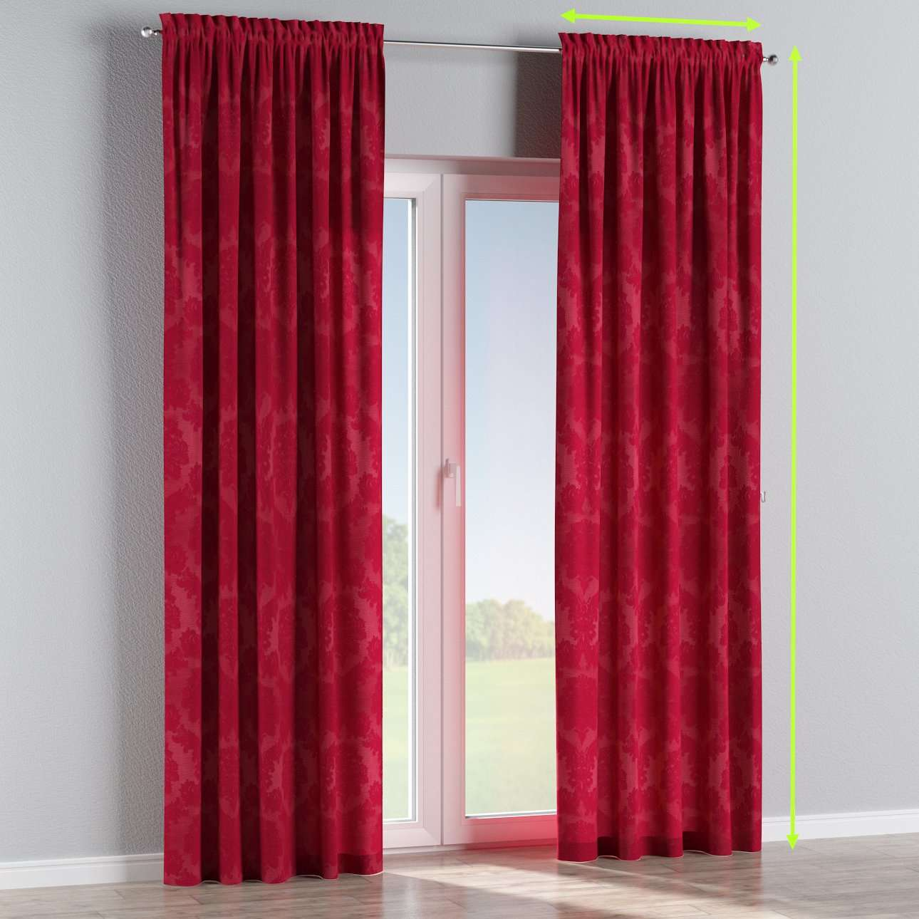 Slot and frill lined curtains in collection Damasco, fabric: 613-13