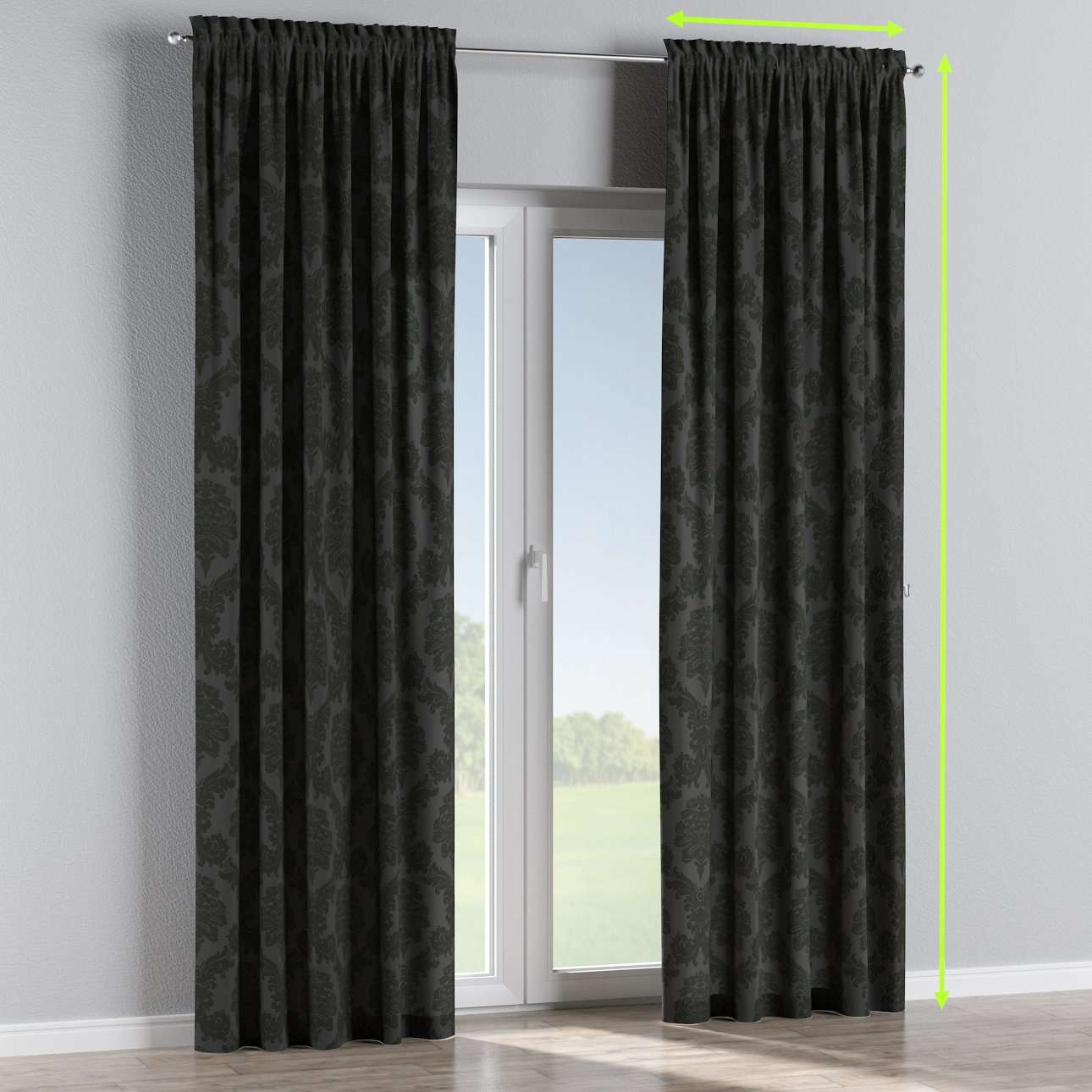 Slot and frill lined curtains in collection Damasco, fabric: 613-32