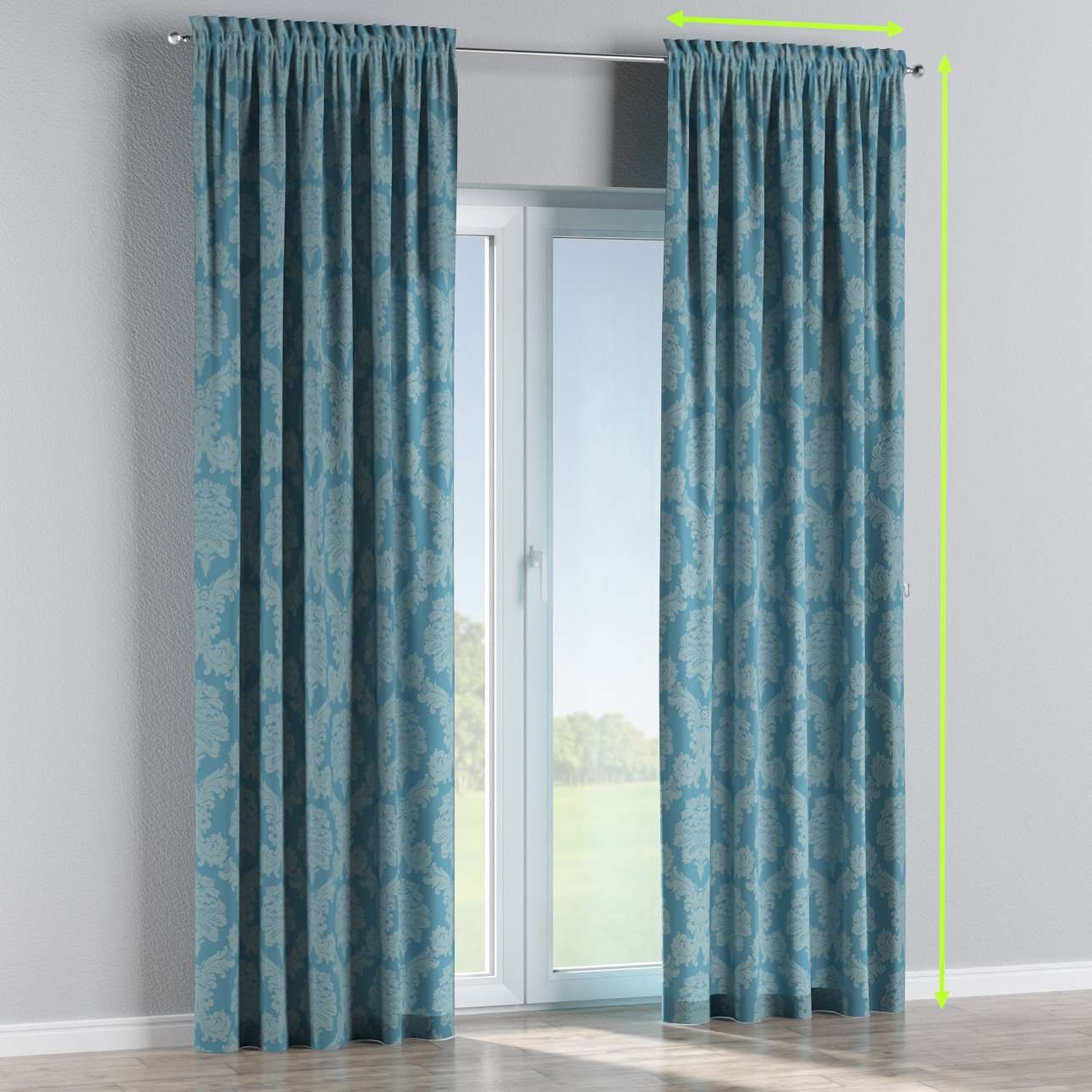 Slot and frill lined curtains in collection Damasco, fabric: 613-67
