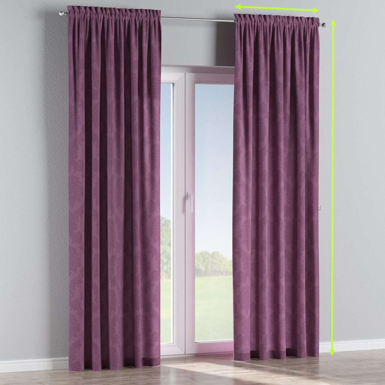 Slot and frill lined curtains in collection Damasco, fabric: 613-75