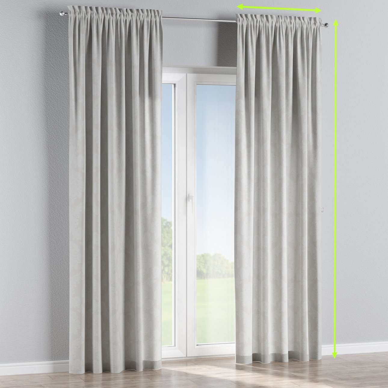 Slot and frill lined curtains in collection Damasco, fabric: 613-81