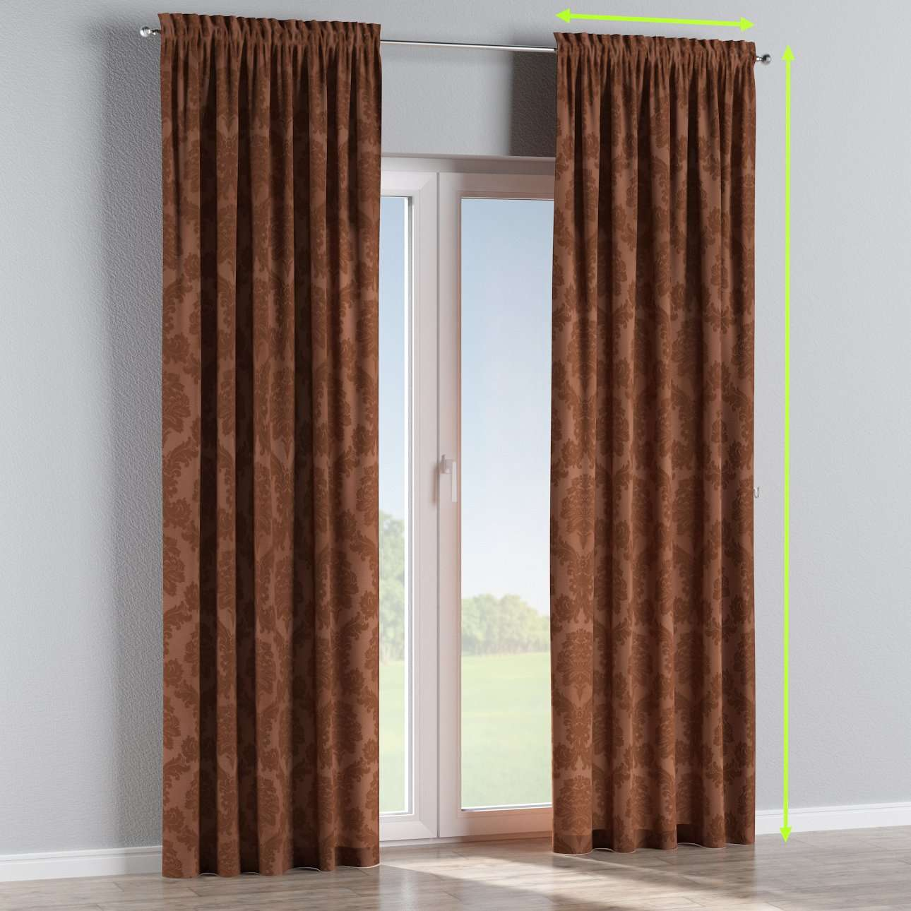 Slot and frill lined curtains in collection Damasco, fabric: 613-88