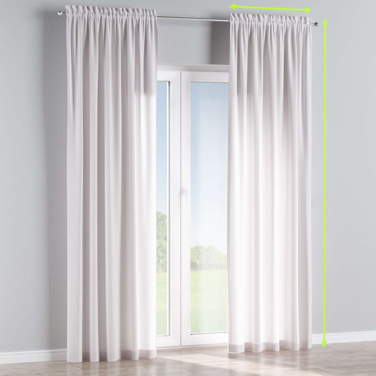 Slot and frill lined curtains in collection Cotton Panama, fabric: 702-00