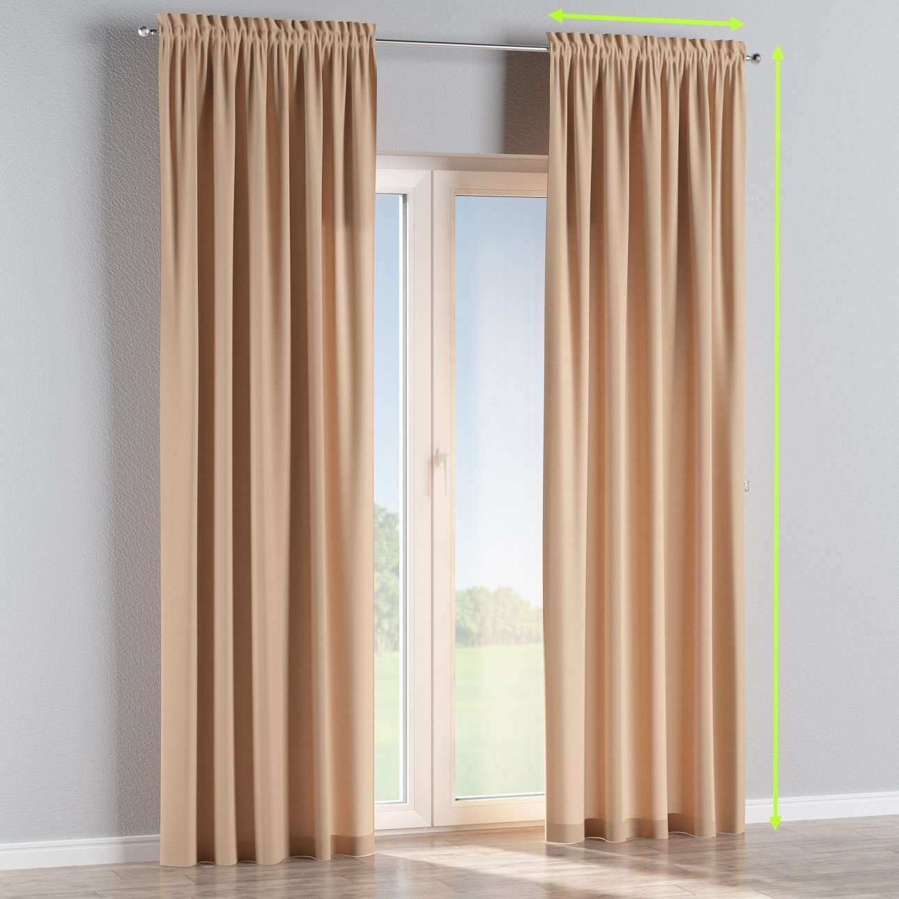 Slot and frill lined curtains in collection Cotton Panama, fabric: 702-01