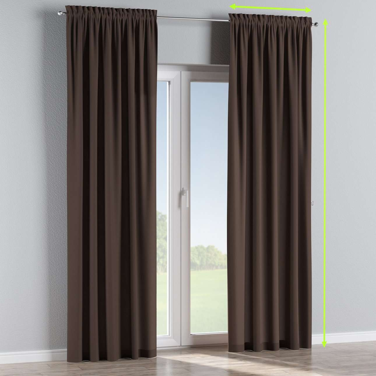 Slot and frill lined curtains in collection Cotton Panama, fabric: 702-03