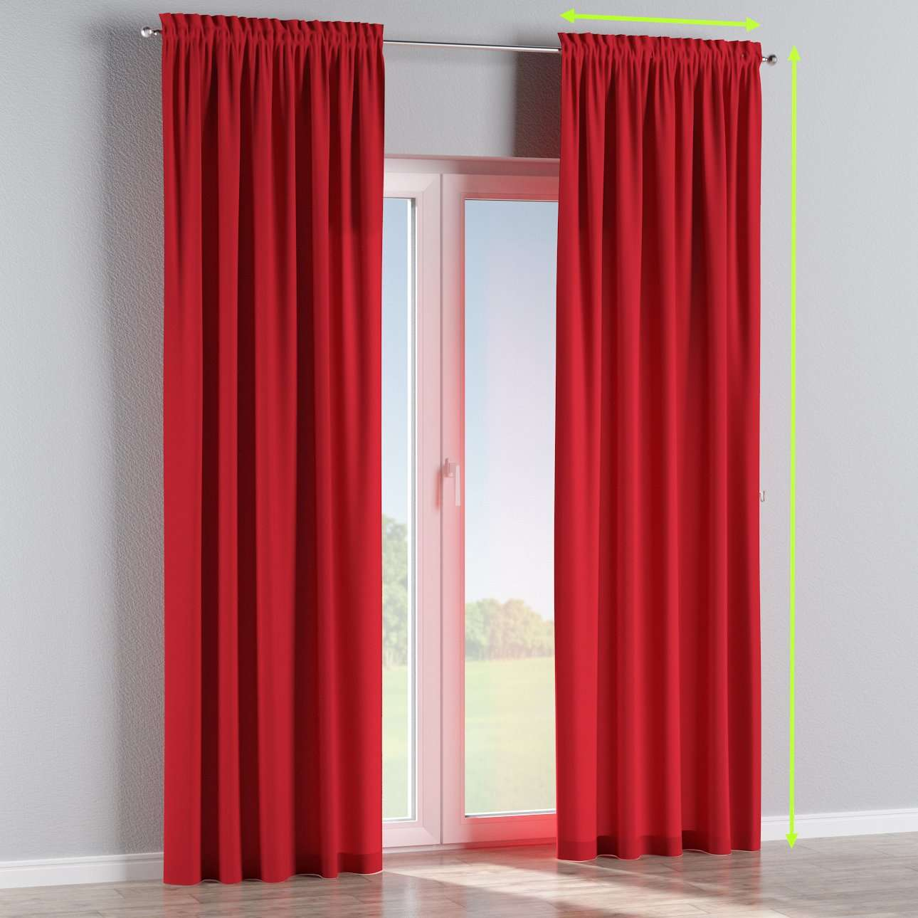 Slot and frill lined curtains in collection Cotton Panama, fabric: 702-04