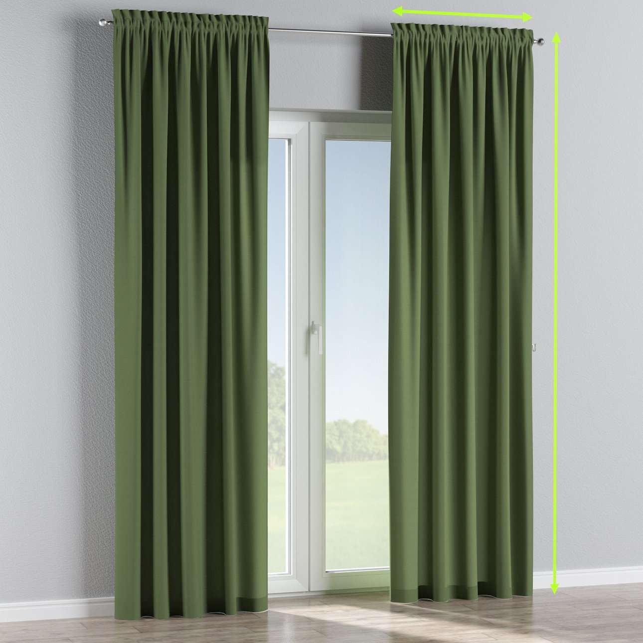 Slot and frill lined curtains in collection Cotton Panama, fabric: 702-06