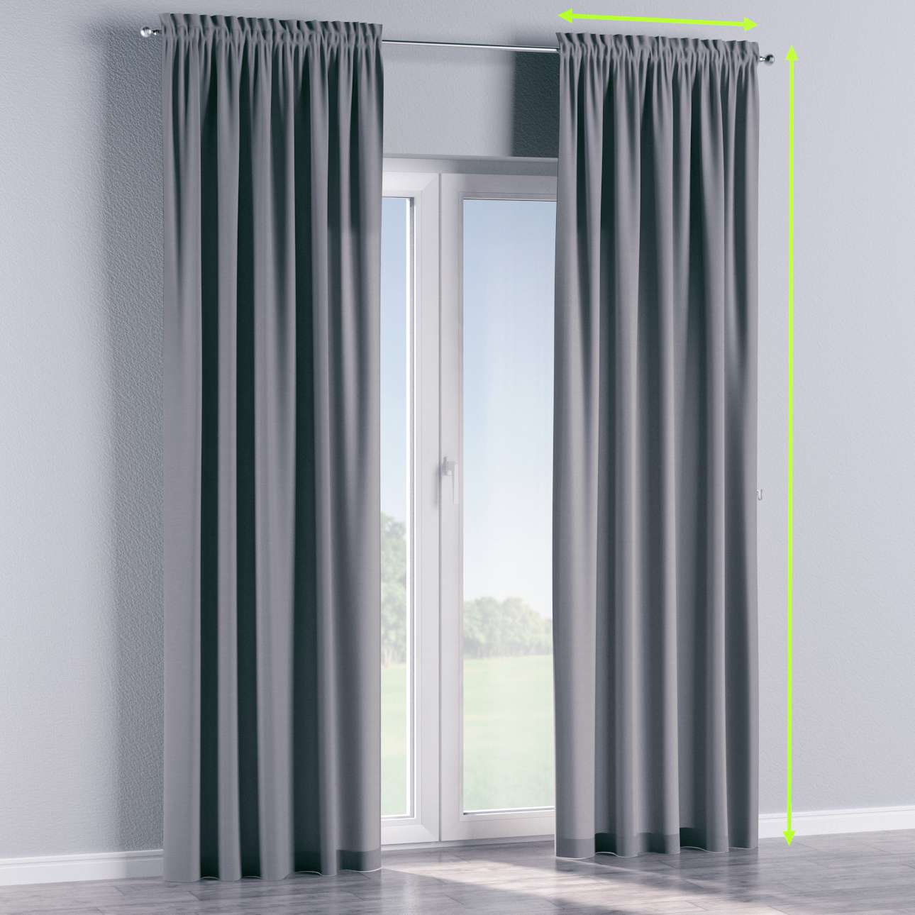 Slot and frill lined curtains in collection Cotton Panama, fabric: 702-07