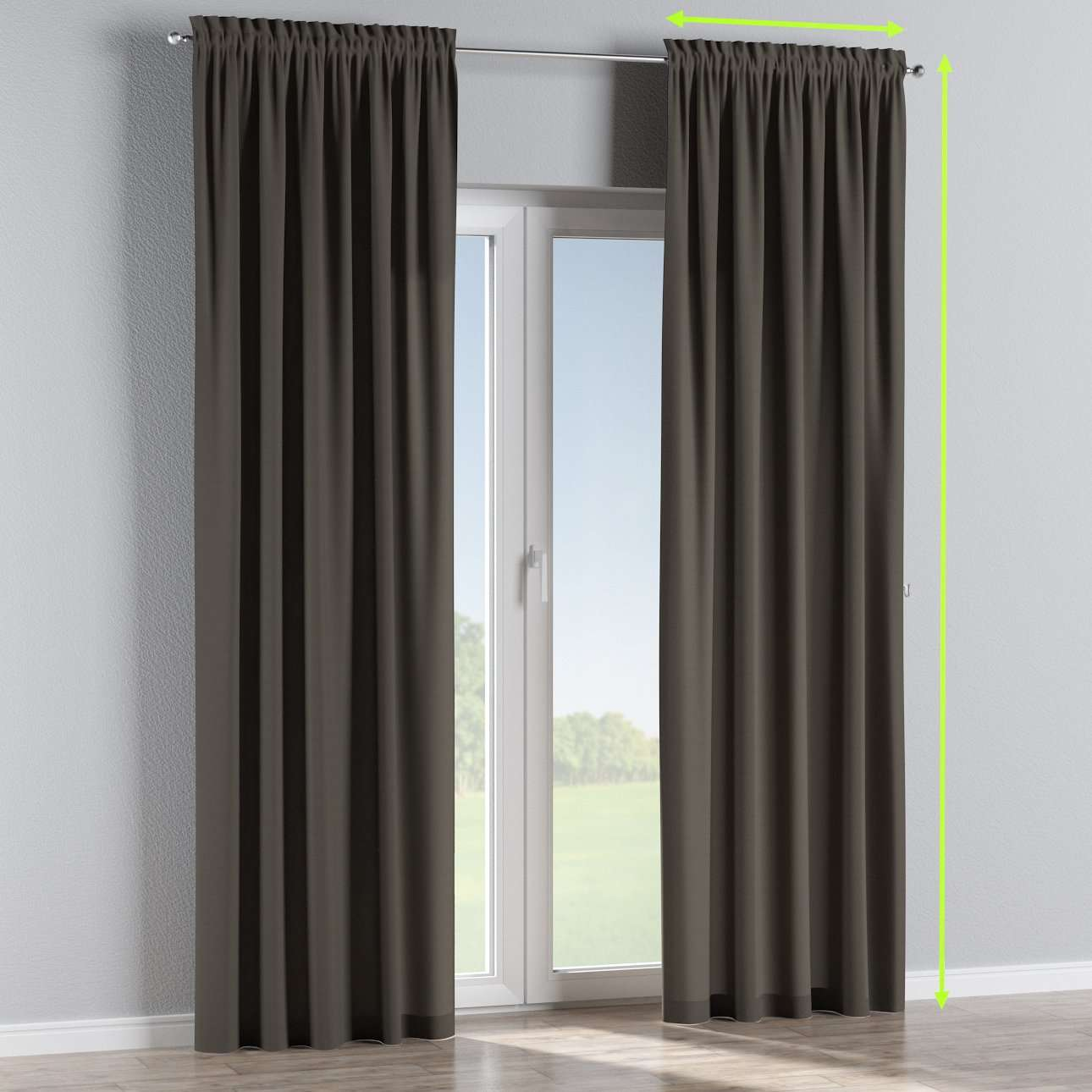 Slot and frill lined curtains in collection Cotton Panama, fabric: 702-08