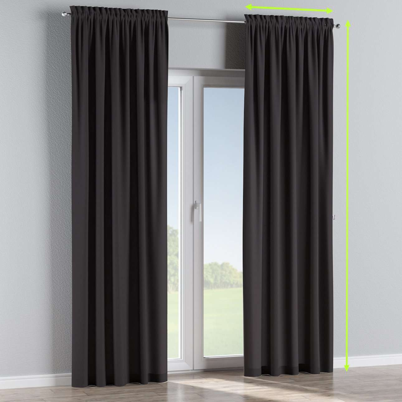 Slot and frill lined curtains in collection Cotton Panama, fabric: 702-09