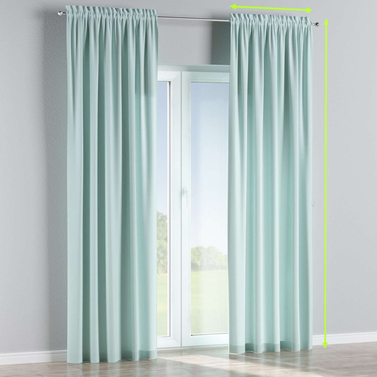 Slot and frill lined curtains in collection Cotton Panama, fabric: 702-10