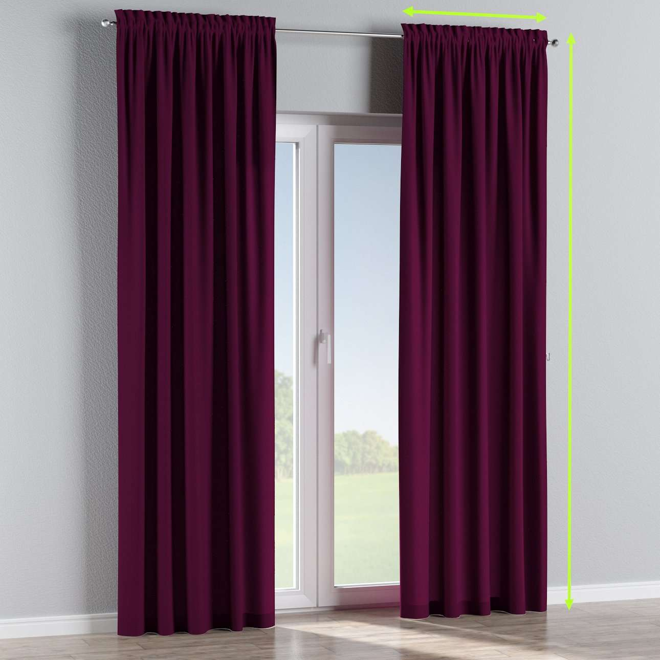 Slot and frill lined curtains in collection Chenille, fabric: 702-12