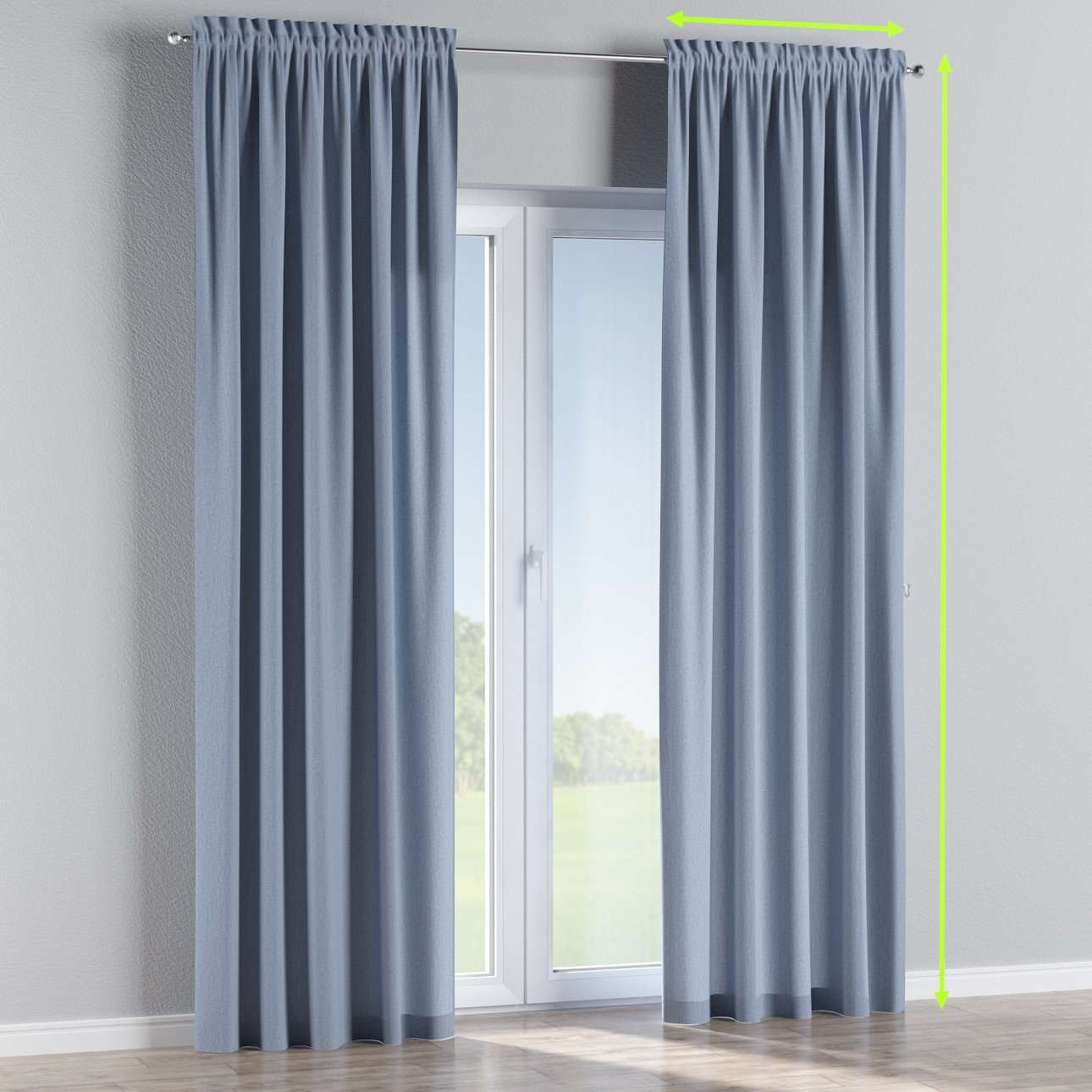 Slot and frill lined curtains in collection Chenille, fabric: 702-13