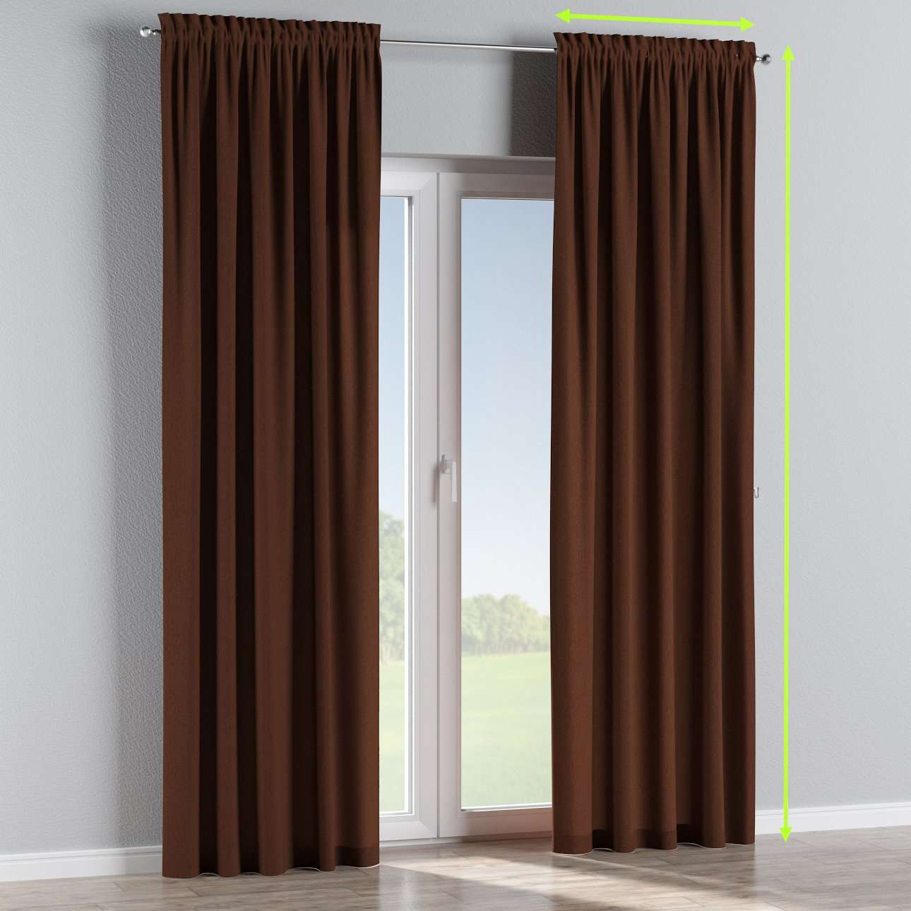 Slot and frill lined curtains in collection Chenille, fabric: 702-18