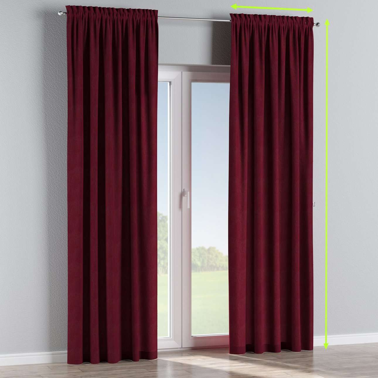 Slot and frill lined curtains in collection Chenille, fabric: 702-19