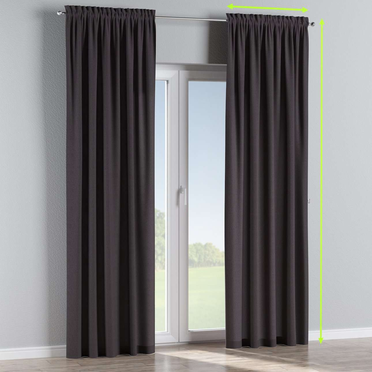 Slot and frill lined curtains in collection Chenille, fabric: 702-20
