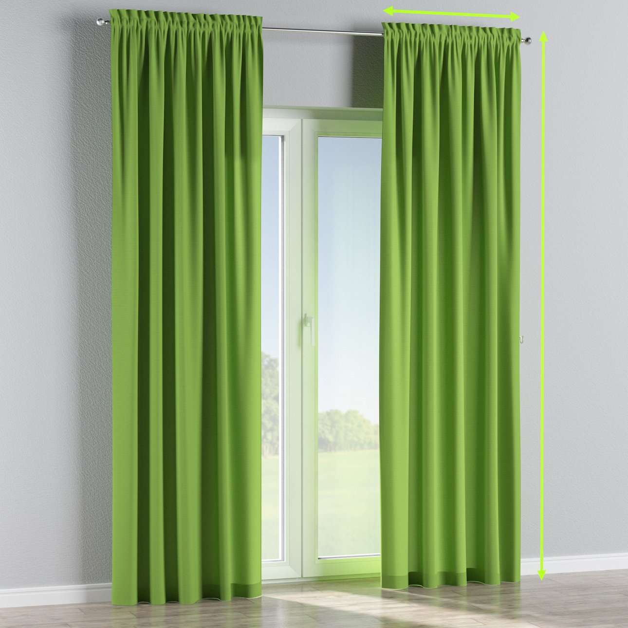 Slot and frill lined curtains in collection Cotton Panama, fabric: 702-27