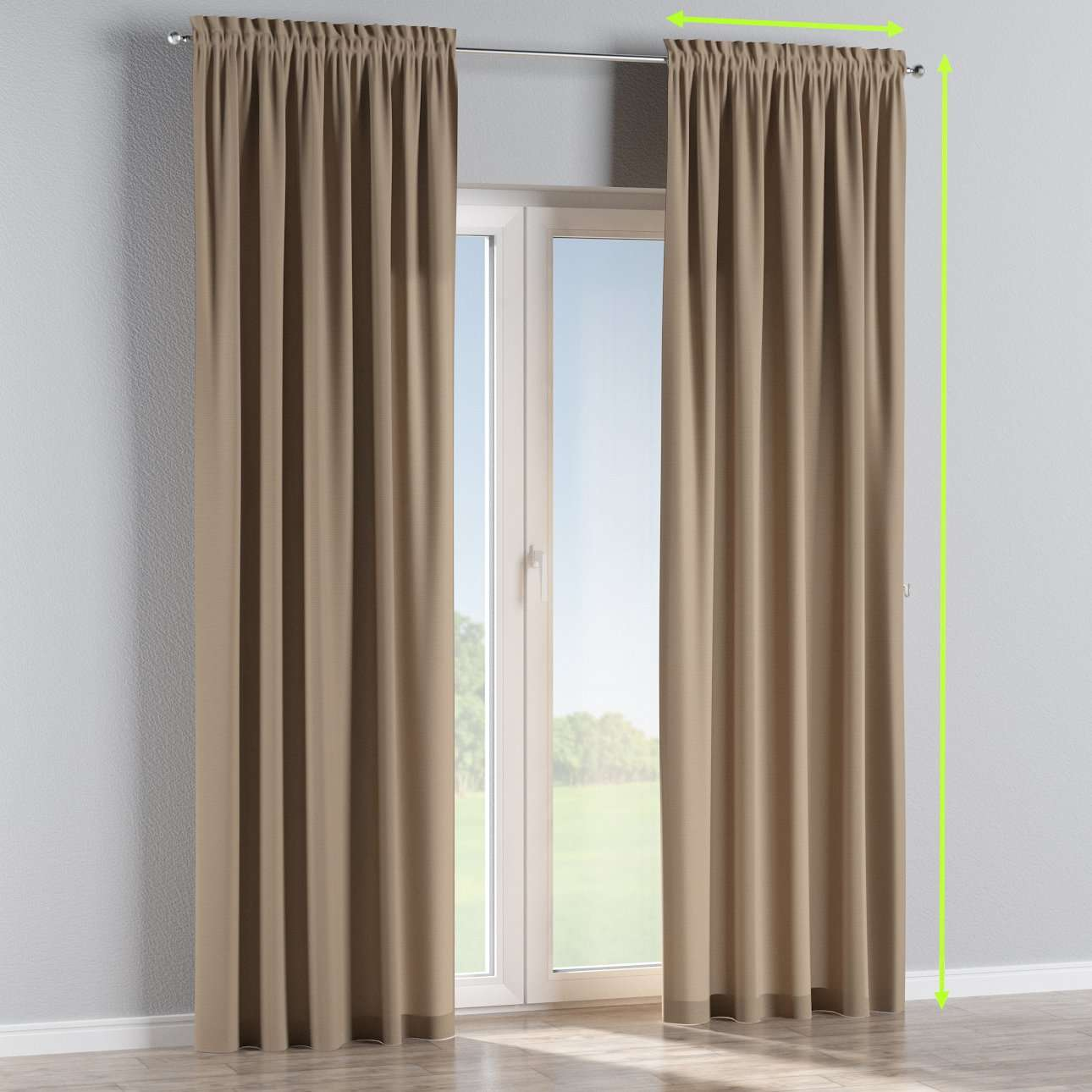 Slot and frill lined curtains in collection Cotton Panama, fabric: 702-28