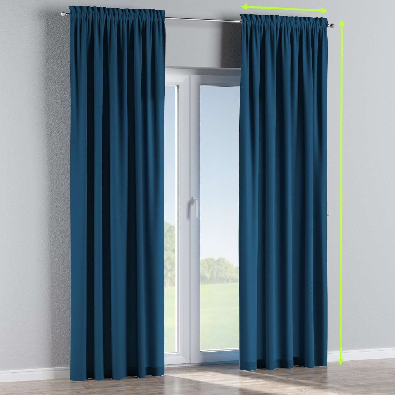 Slot and frill lined curtains in collection Cotton Panama, fabric: 702-30