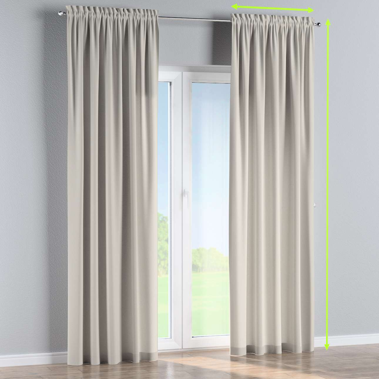 Slot and frill lined curtains in collection Panama Cotton, fabric: 702-31