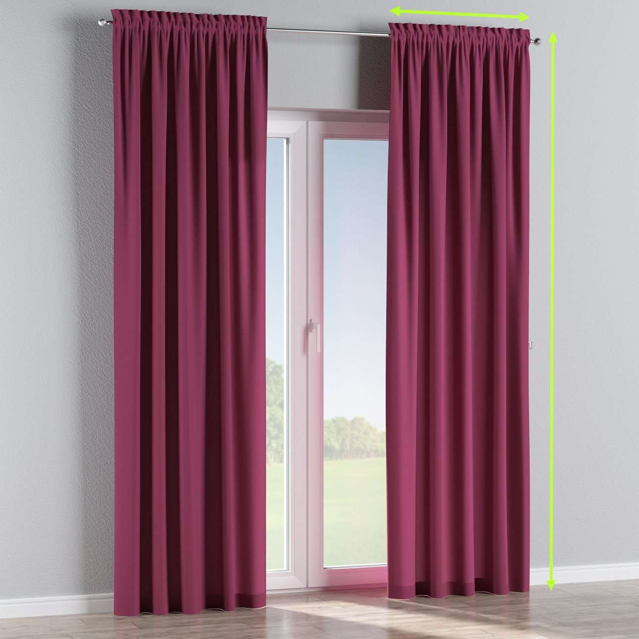 Slot and frill lined curtains in collection Cotton Panama, fabric: 702-32