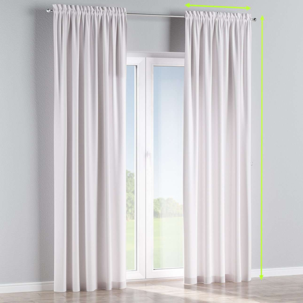 Slot and frill lined curtains in collection Cotton Panama, fabric: 702-34