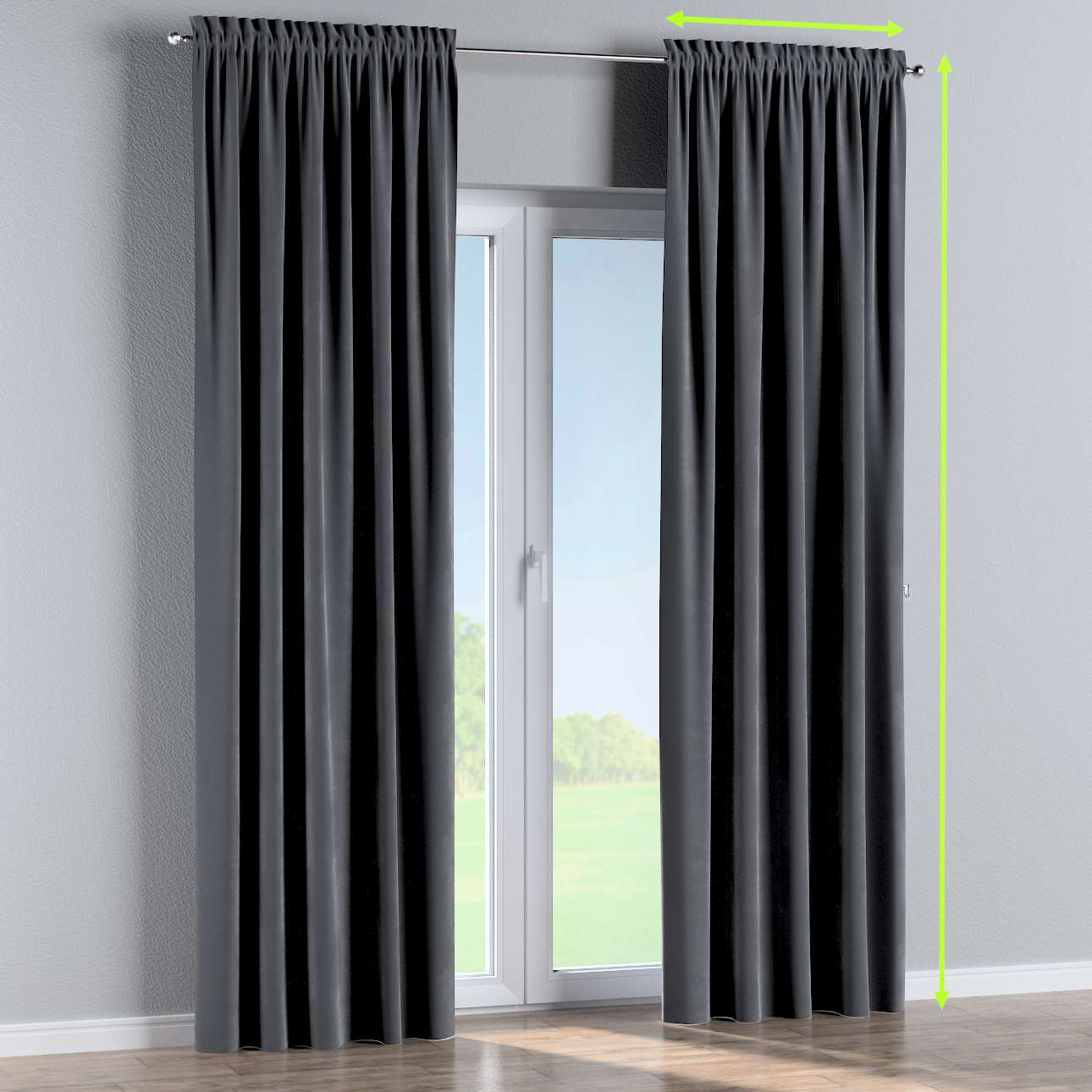 Slot and frill lined curtains in collection Velvet, fabric: 704-12