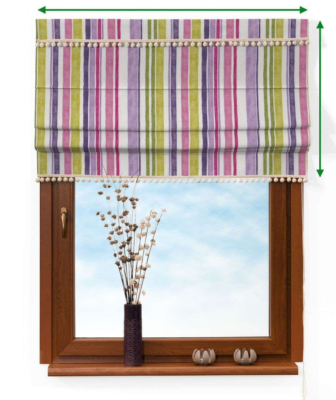 Padva blind with pompoms in collection Monet, fabric: 140-01