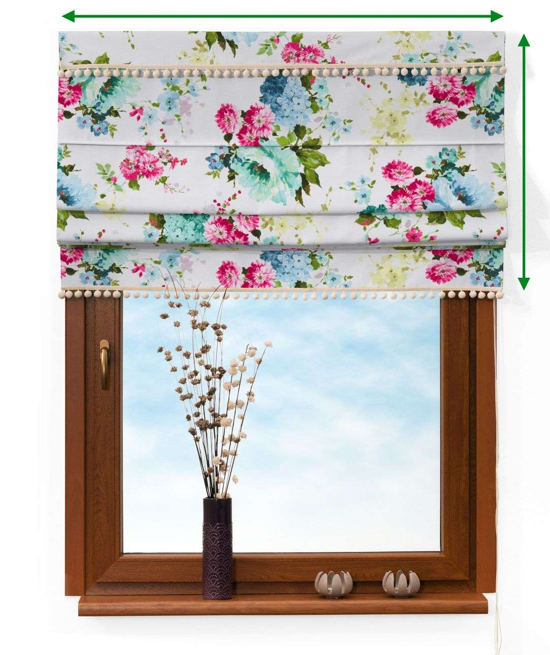 Padva blind with pompoms in collection Monet, fabric: 140-02