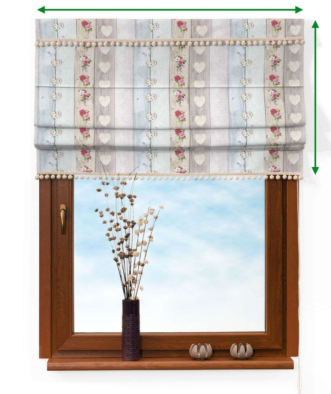 Padva blind with pompoms in collection Ashley, fabric: 140-20