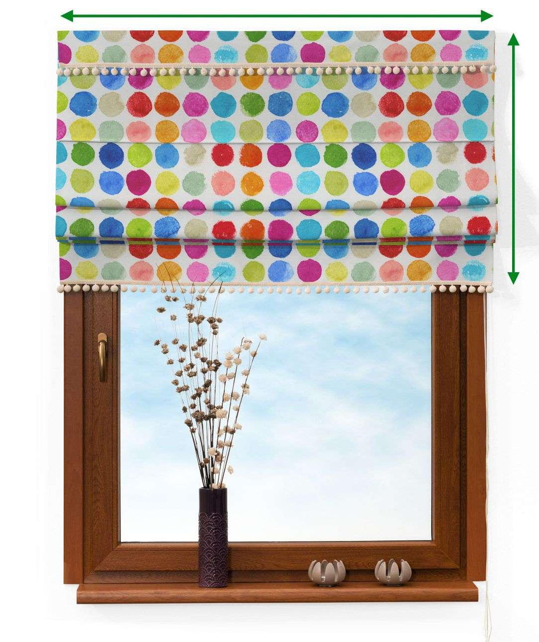 Padva blind with pompons in collection New Art, fabric: 140-26