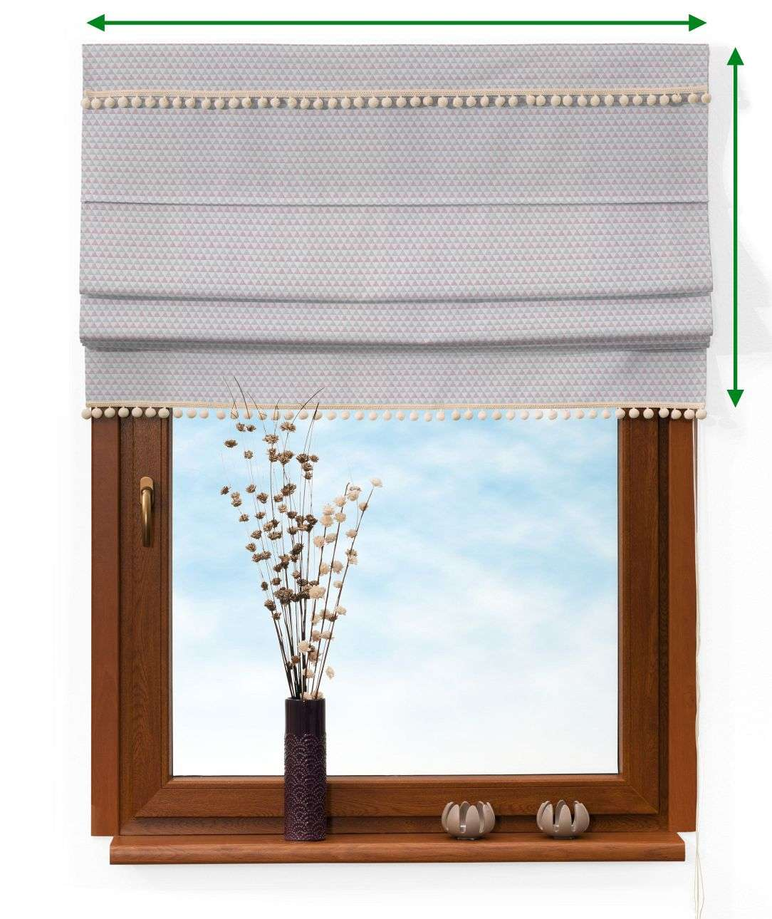 Padva blind with pompons in collection Rustica, fabric: 140-28