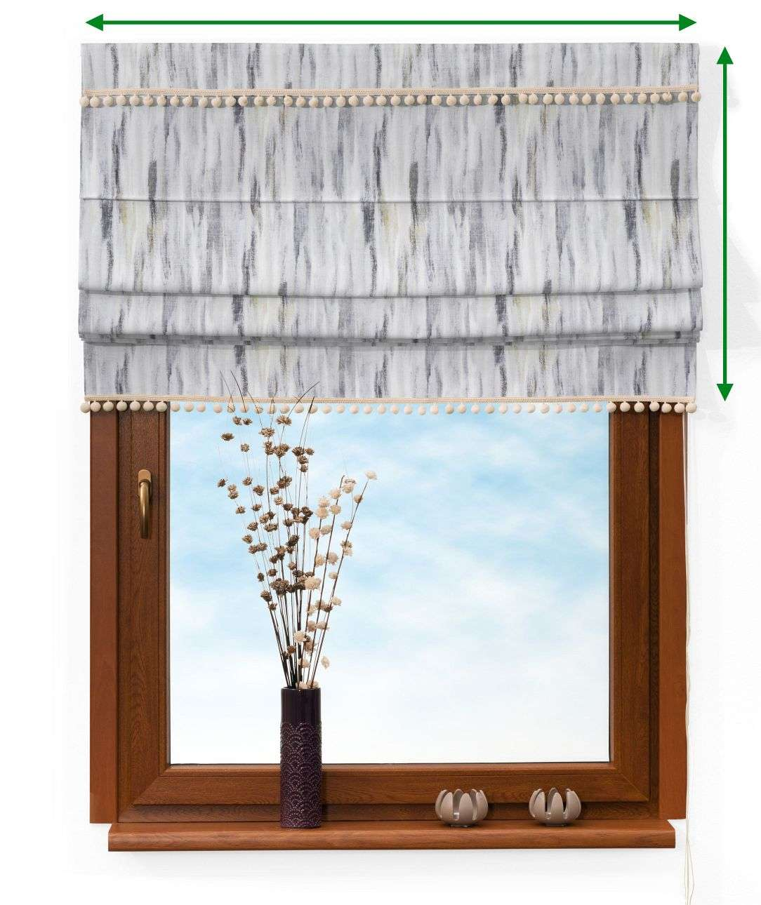 Padva blind with pompoms in collection Aquarelle, fabric: 140-66
