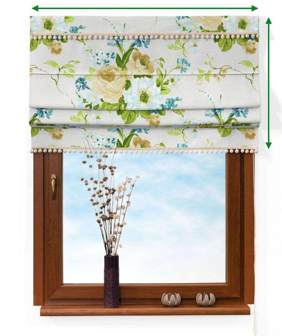 Padva blind with pompoms in collection Mirella, fabric: 141-15