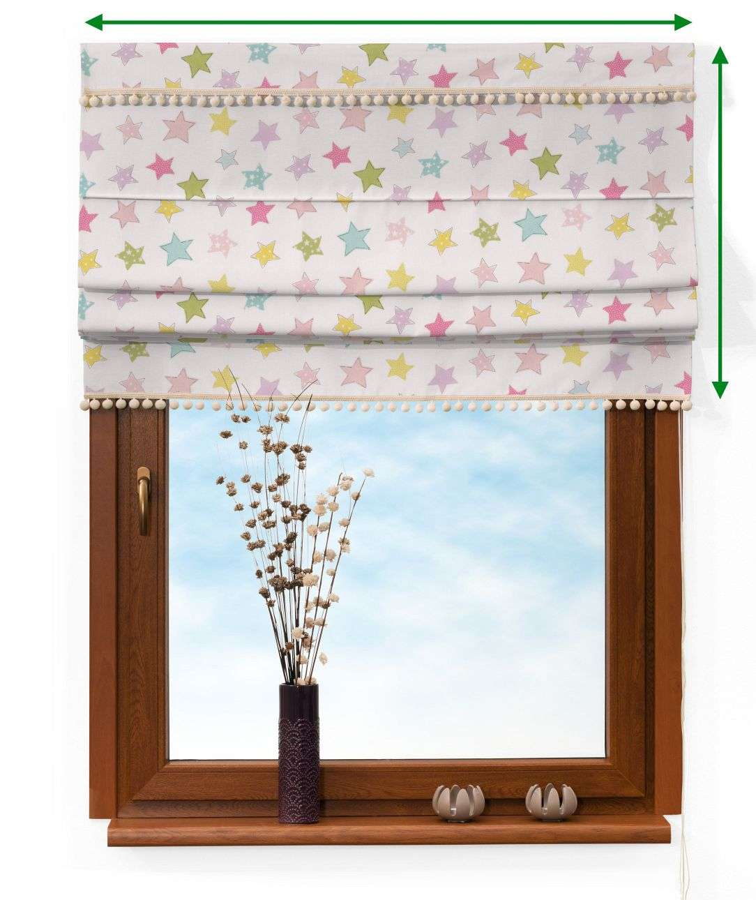 Padva blind with pompoms in collection Little World, fabric: 141-52