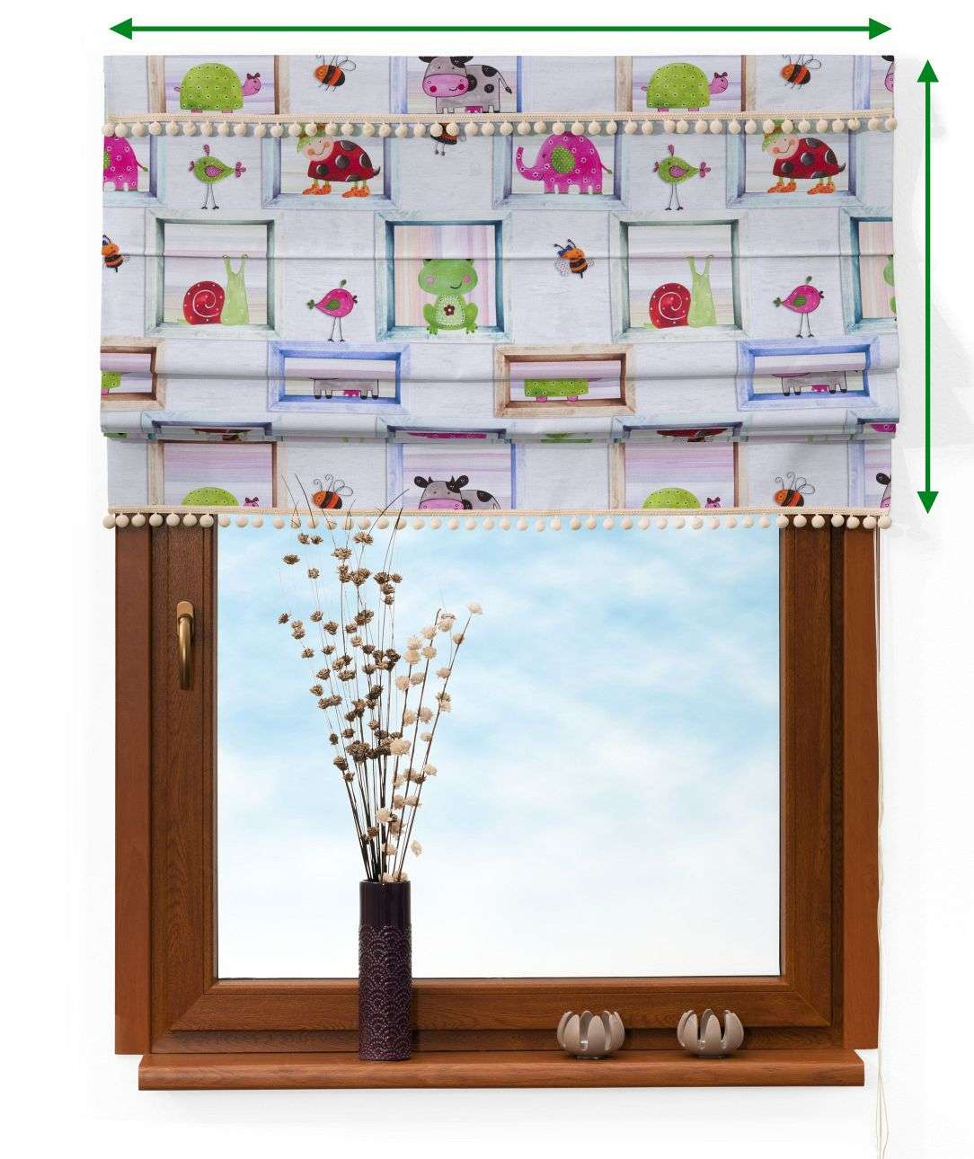 Padva blind with pompoms in collection Apanona, fabric: 151-04