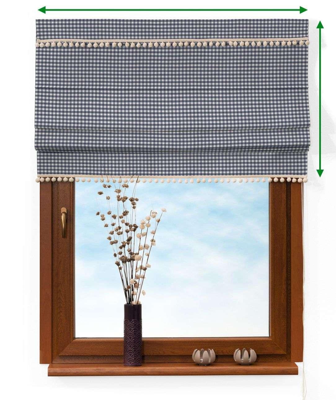 Vouwgordijn met pompons van de collectie Quadro, Stof: 136-00