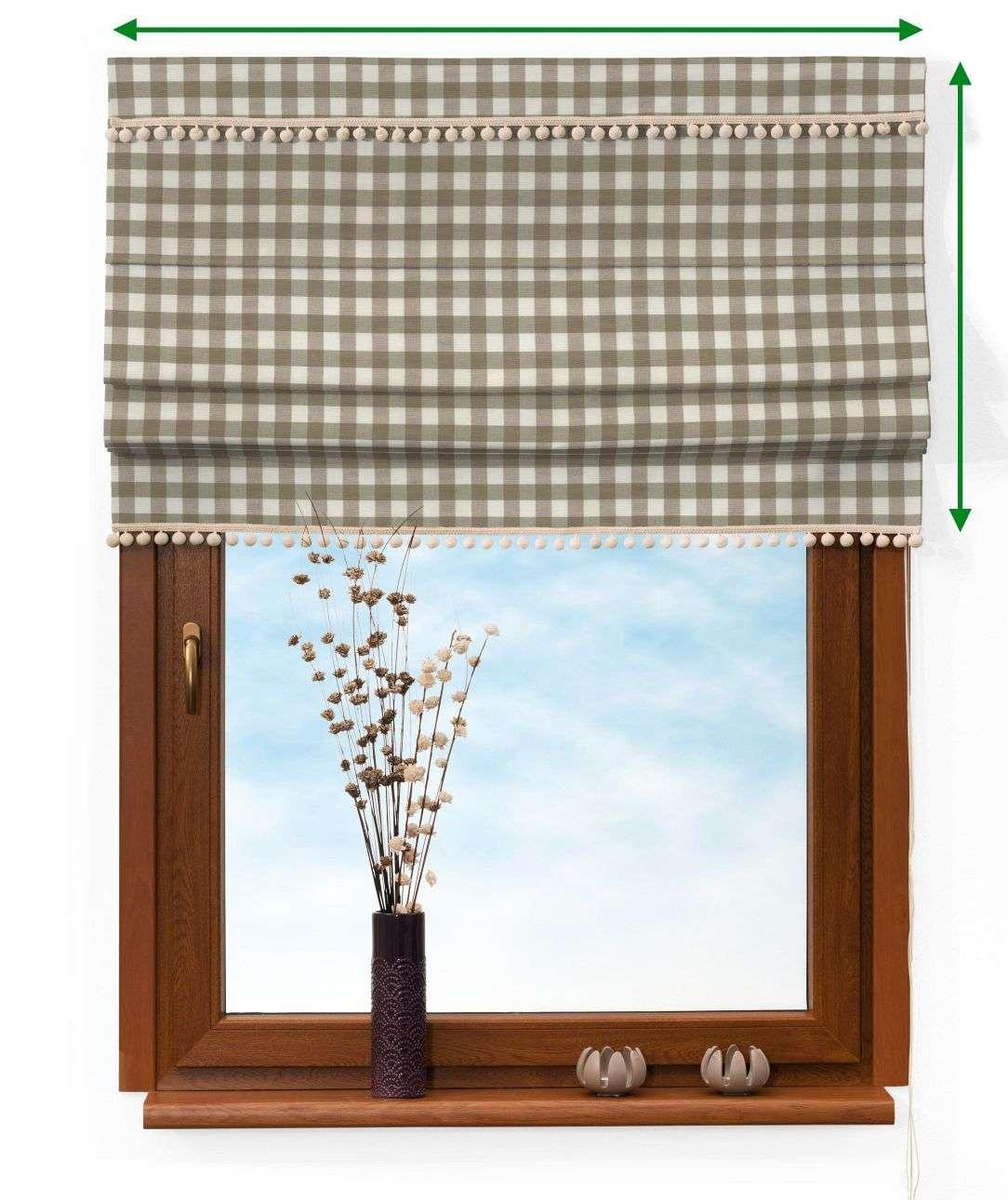 Roleta rzymska z pomponikami w kolekcji Quadro, tkanina: 136-06