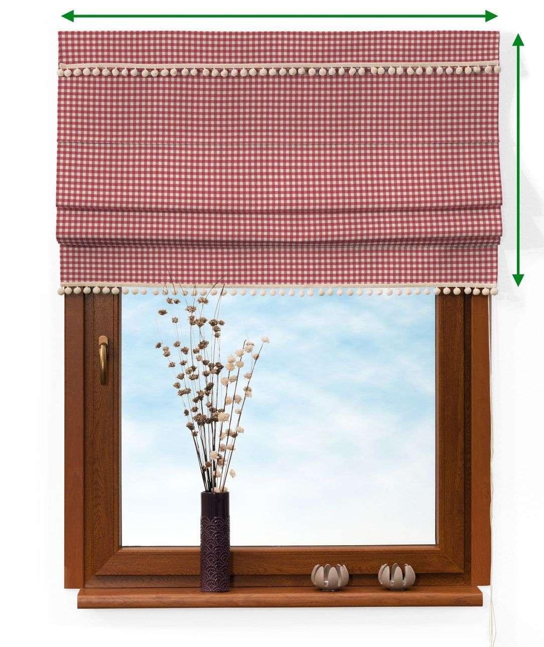 Vouwgordijn met pompons van de collectie Quadro, Stof: 136-15