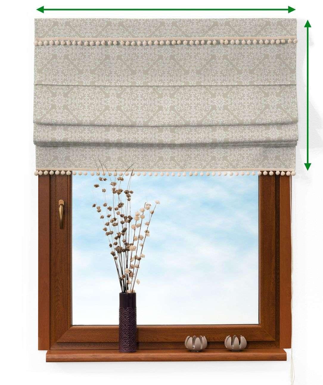 Roleta rzymska z pomponikami w kolekcji Flowers, tkanina: 140-39
