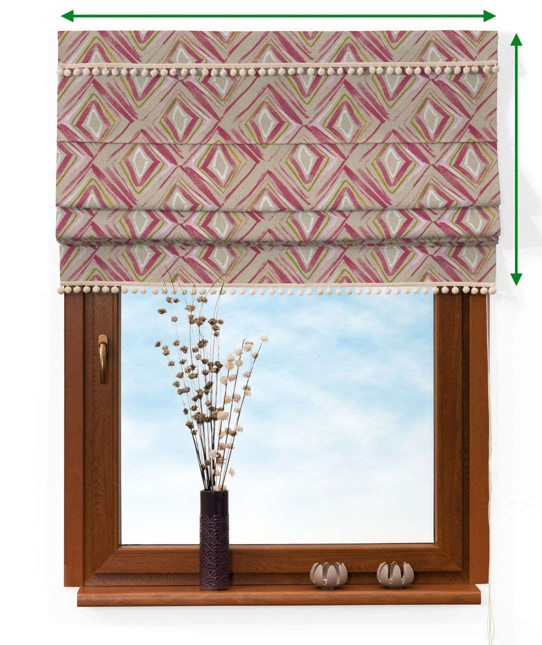 Padva blind with pompoms in collection Londres, fabric: 140-45