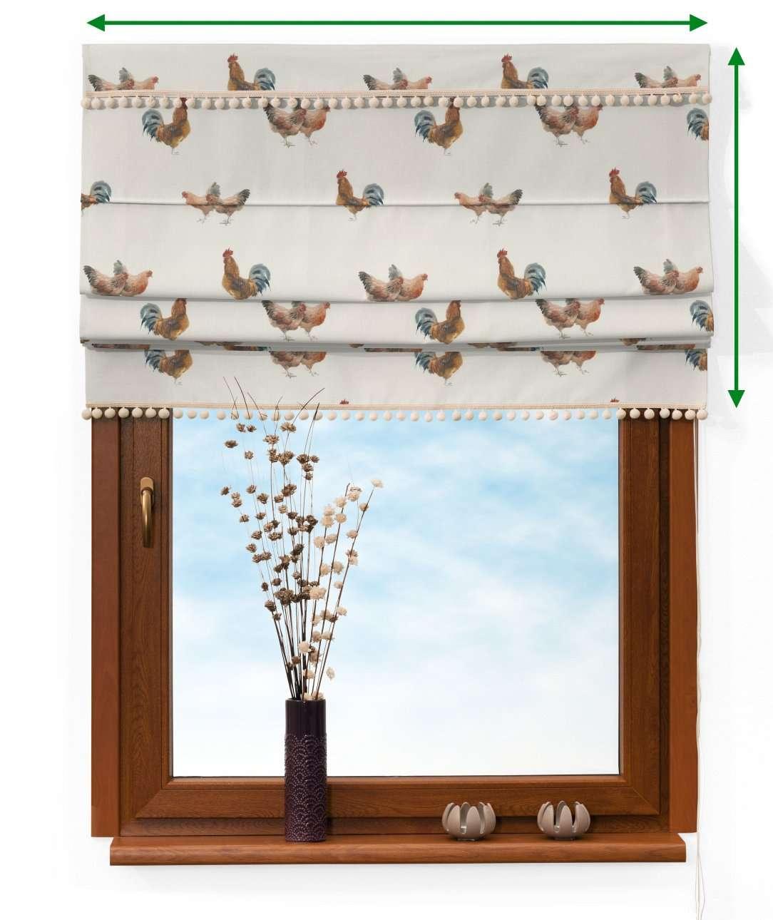 Roleta rzymska z pomponikami w kolekcji Flowers, tkanina: 141-80