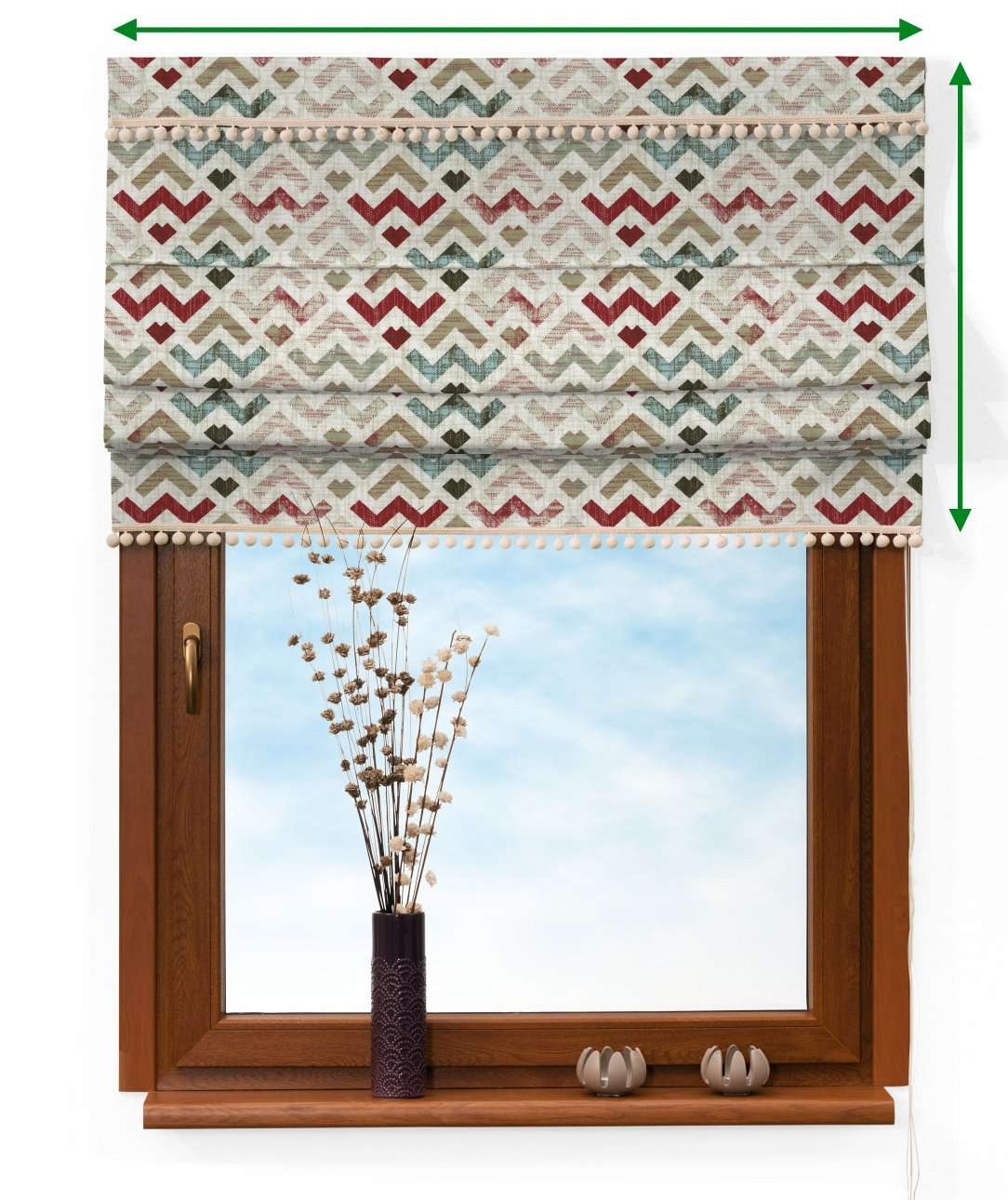 Padva blind with pompoms in collection Modern, fabric: 141-94